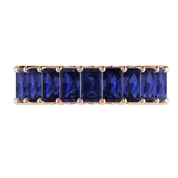 Blue Sapphire and Diamonds Eternity Anniversary Wedding Stackable Band 18k Pink Gold - Thenetjeweler by Importex