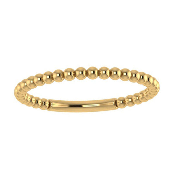 Beaded Ring Band 14k Yellow Gold