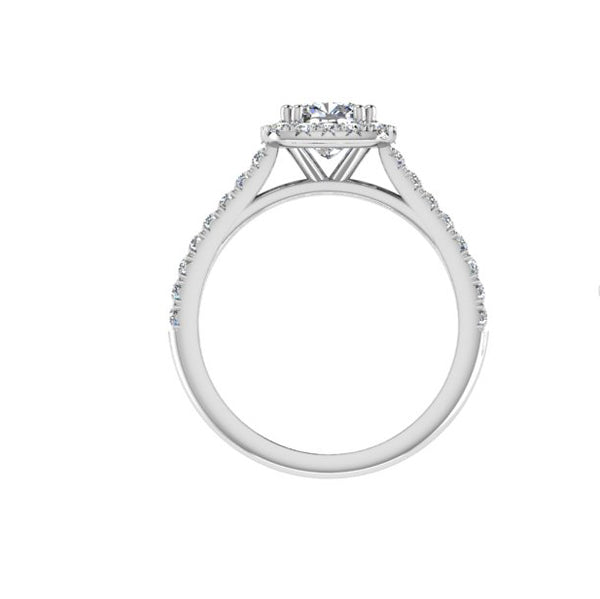 Cushion Halo Round Diamond Engagement Ring | TheNetJeweler