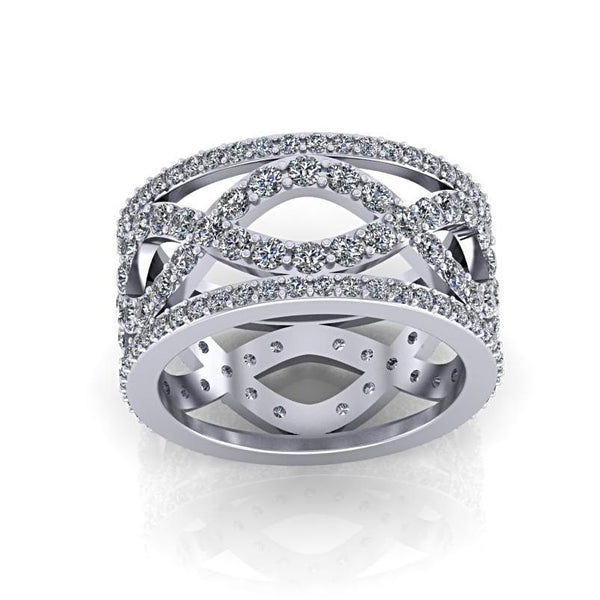 Diamond Infinity Design Ring 18K White Gold - Thenetjeweler