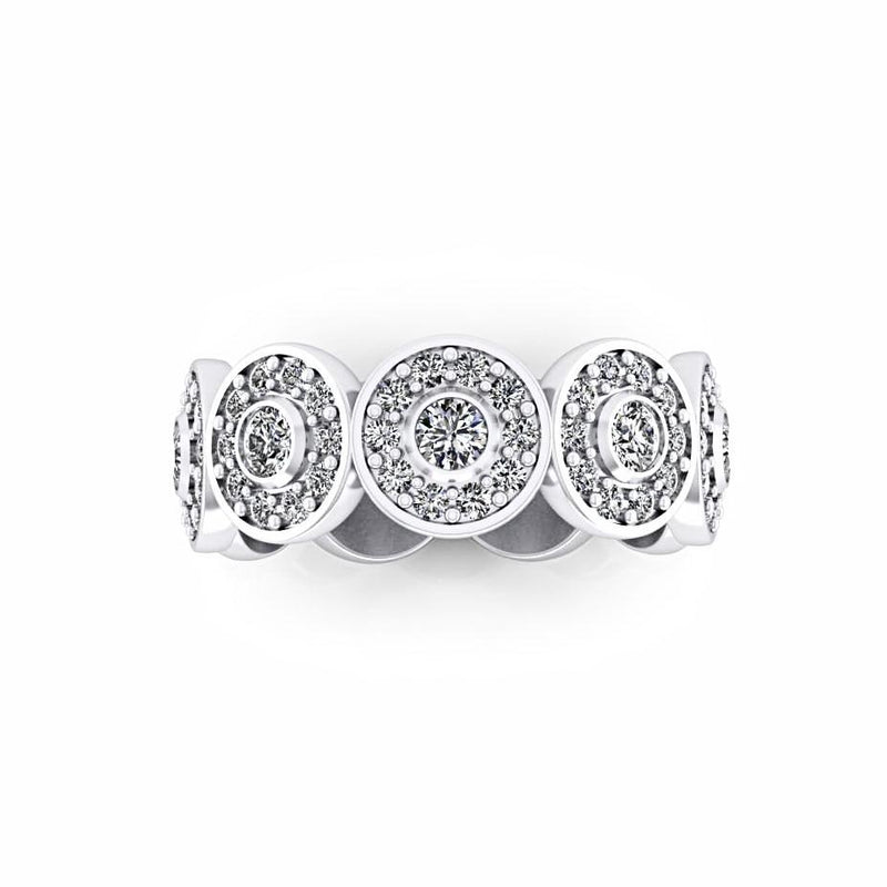 Diamond Circular Design Ring 18K White Gold - Thenetjeweler