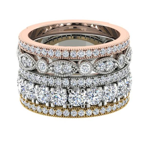 Gold Multi Band Rings with Diamonds