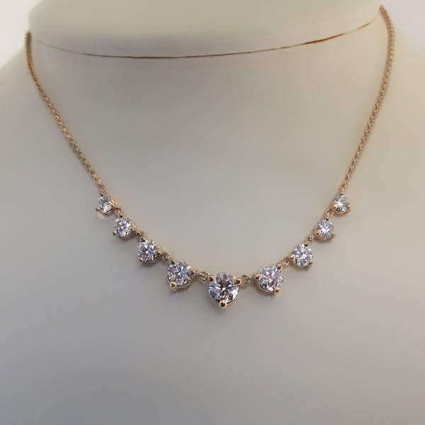 Graduated Diamonds Necklace Rose Gold - Thenetjeweler