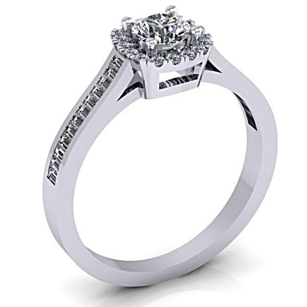 Round Halo with Side Baguettes Diamond Engagement Ring 14K White Gold - Thenetjeweler