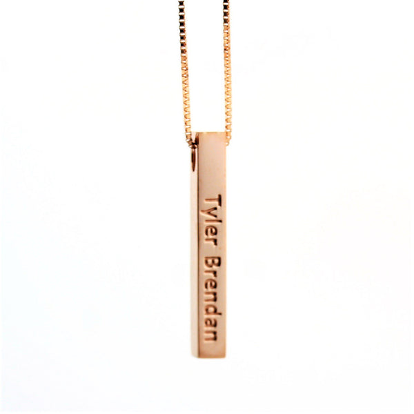 Personalized Gold 3D Vertical Bar Pendant Necklace with Engraving - Thenetjeweler by Importex