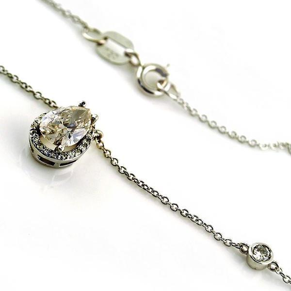 Pear Shape Diamond Halo Pendant Necklace with Round Diamonds Chain 18K White Gold - Thenetjeweler