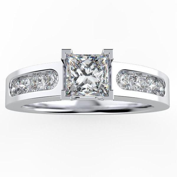 Princess Cut Diamond Engagement Ring with Side Stones - Thenetjeweler
