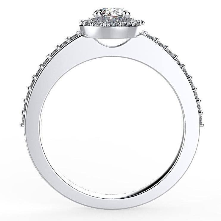 Oval Diamond Halo Engagement Ring 18K White Gold (0.36 ct. tw.) - Thenetjeweler