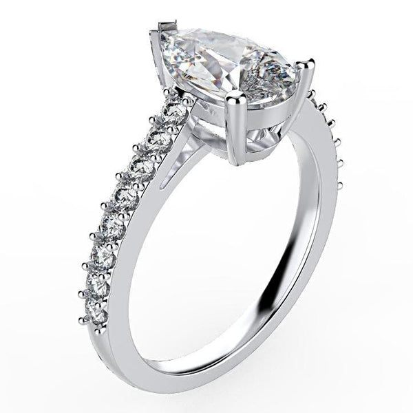 Pear Diamond Engagement Ring with Side Stones 18K White Gold - Thenetjeweler
