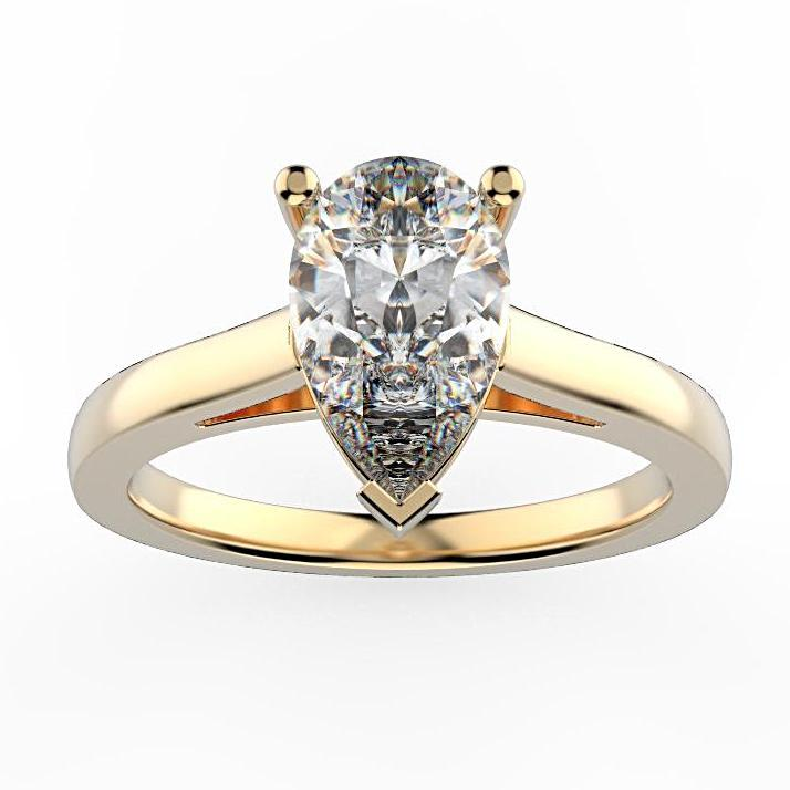 Pear Diamond Solitaire Engagement Ring 18K White Gold Setting - Thenetjeweler