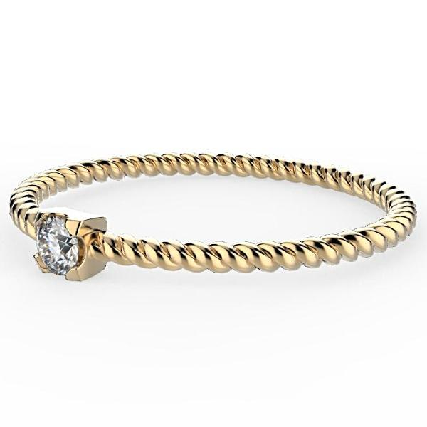 Dainty Twist Diamond Band 0.10 carat 18K Gold - Thenetjeweler