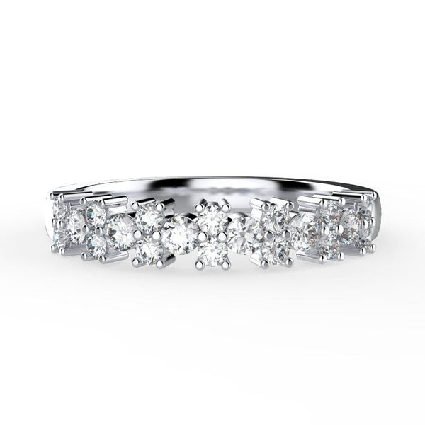 0.52 cwt Diamond Wedding Ring Semi Eternity Band 18K White Gold - Thenetjeweler by Importex