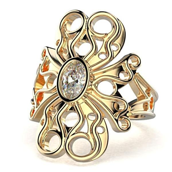 Oval Diamond Flower Design Ring 14K Yellow Gold - Thenetjeweler by Importex