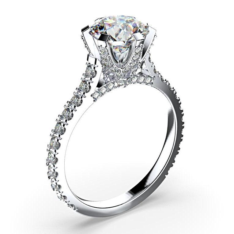 Round Pave Diamond Engagement Ring 18K White Gold - Thenetjeweler