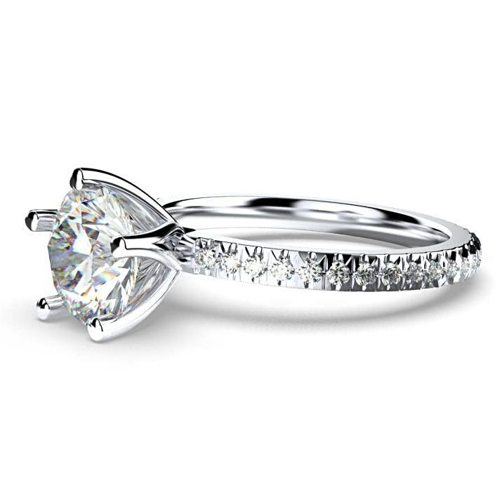 Round Diamond Eternity Style Engagement Ring 18K White Gold - Thenetjeweler