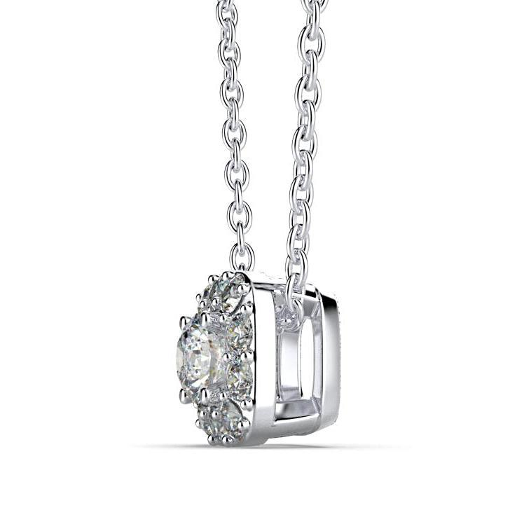 Round Diamond Cushion Halo Pendant 14K White Gold - Thenetjeweler