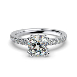 Round Diamond Side Stones White Gold Engagement Ring - Thenetjeweler