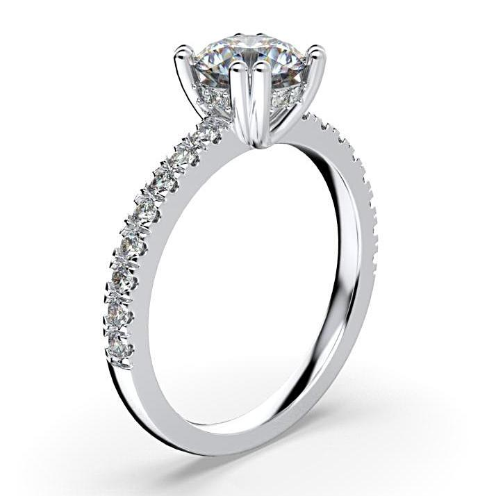 Round Diamond Engagement Ring with Side Stone Detail 18K White Gold - Thenetjeweler
