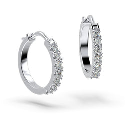 0.50 carat Diamond Hoops Huggies White Gold Earrings 19mm - Thenetjeweler by Importex