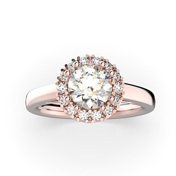Round Diamond Halo Solitaire Engagement Ring 18K White Gold - Thenetjeweler