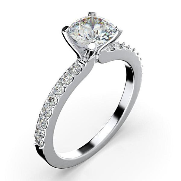 0.26cts Round Diamond Engagement Ring with Side Stones 18K White Gold - Thenetjeweler by Importex