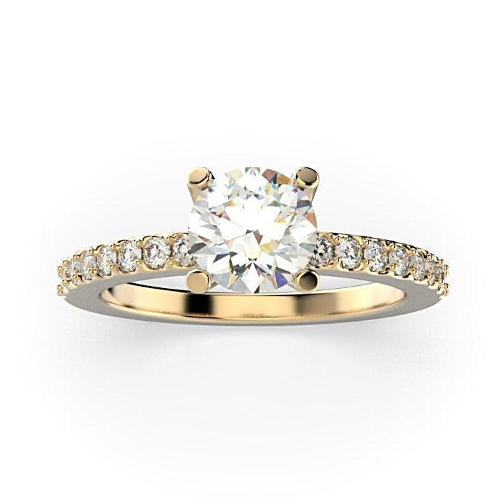 Round Diamond Engagement Ring with Side Stones 18K White Gold (0.26 ct. tw.) - Thenetjeweler