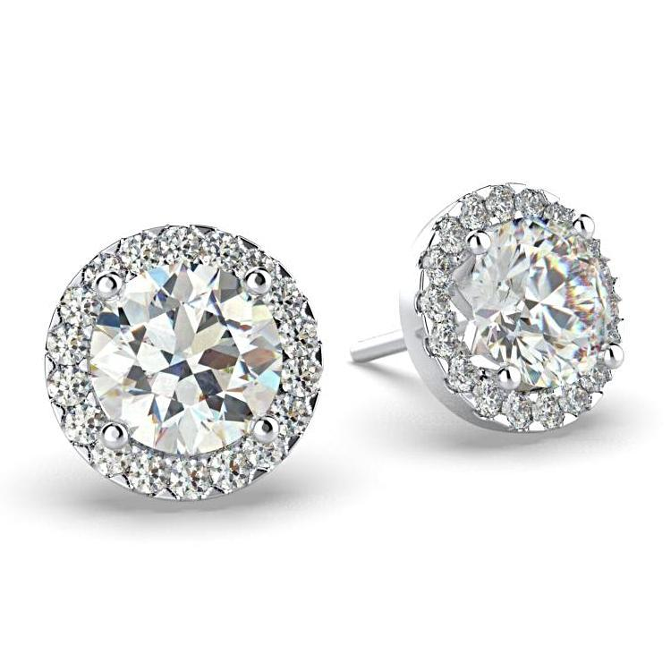 Diamond Halo Stud Earrings 18K White Gold Setting 0.86 carat WT. - Thenetjeweler