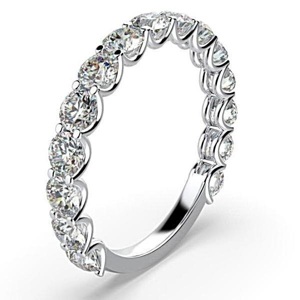 1.50 cwt Diamond Semi Eternity Ring Band 18K White Gold - Thenetjeweler by Importex