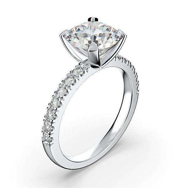 0.28cts Round Diamond Engagement Ring with Side Stones 18K White Gold - Thenetjeweler by Importex