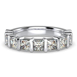 Princess Cut Diamond Semi Eternity Ring 18K White Gold Band 1.80 ct tw - Thenetjeweler