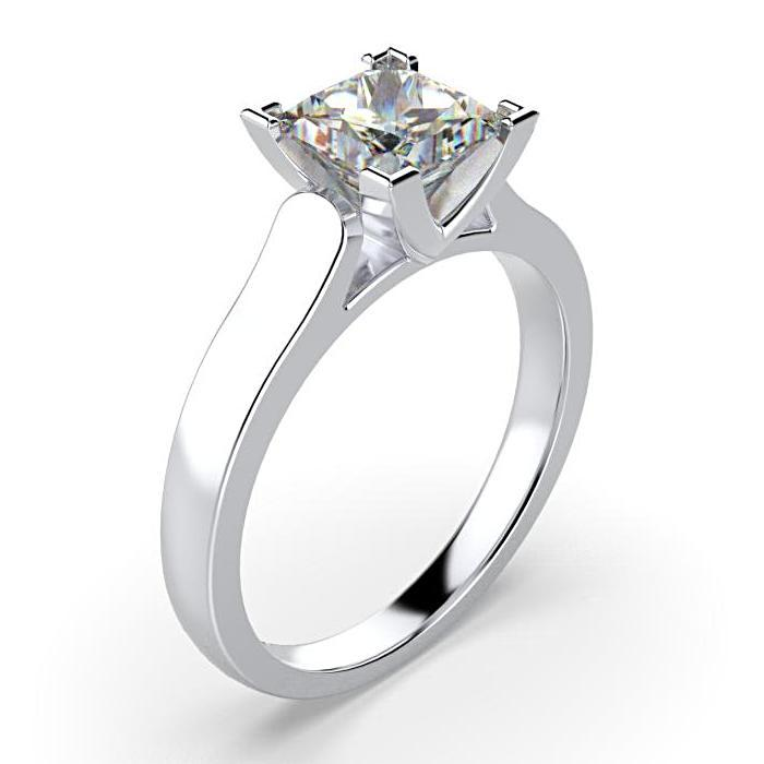 Princess Cut Solitaire Diamond Engagement Ring 18K White Gold Setting - Thenetjeweler