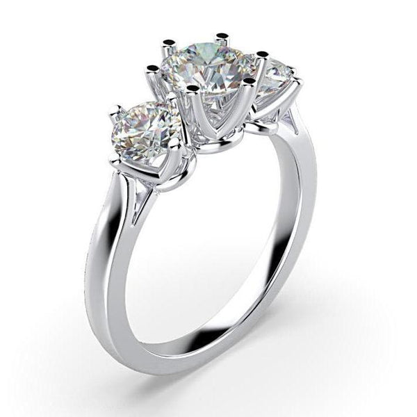 Three Stone Round Cut 0.40 carat Diamond Engagement Ring 18K White Gold - Thenetjeweler