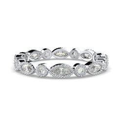 Milgrain Marquise and Dot Diamond Eternity Ring Band 18K White Gold - Thenetjeweler