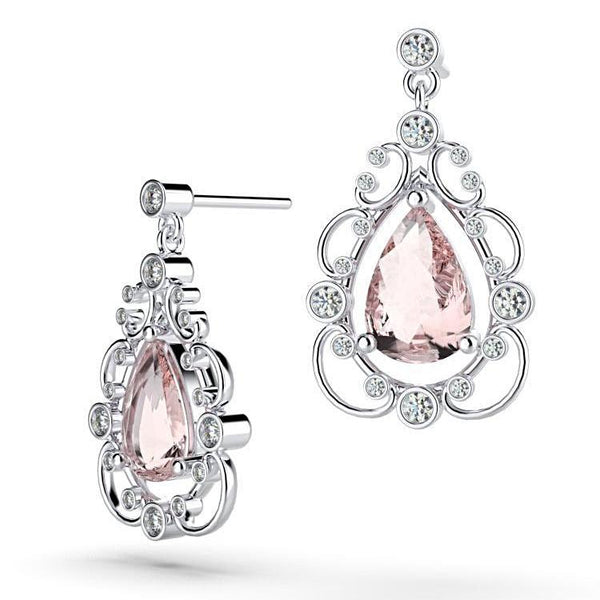 Diamond Morganite Vintage Style Drop Earrings 14K White Gold - Thenetjeweler
