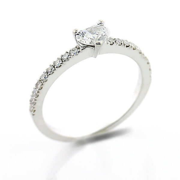 Heart Diamond Side Stones Engagement Ring 18K White Gold - Thenetjeweler