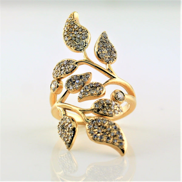 Diamond Olive Leaf Ring Yellow Gold - Thenetjeweler