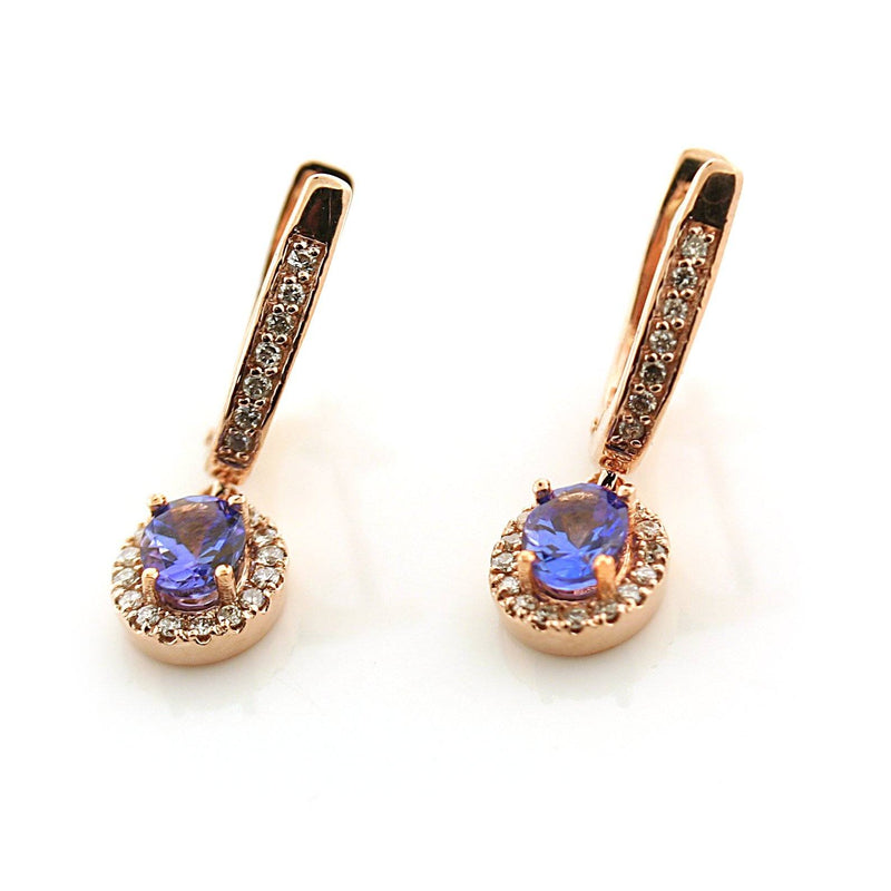 Oval Blue Sapphire and Diamond Earrings 18K Pink Gold - Thenetjeweler
