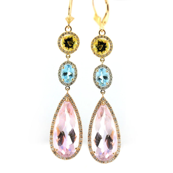 14K Yellow Gold Pear Kunzite Citrine and Blue Topaz Drop Earrings Lever Backs - Thenetjeweler by Importex