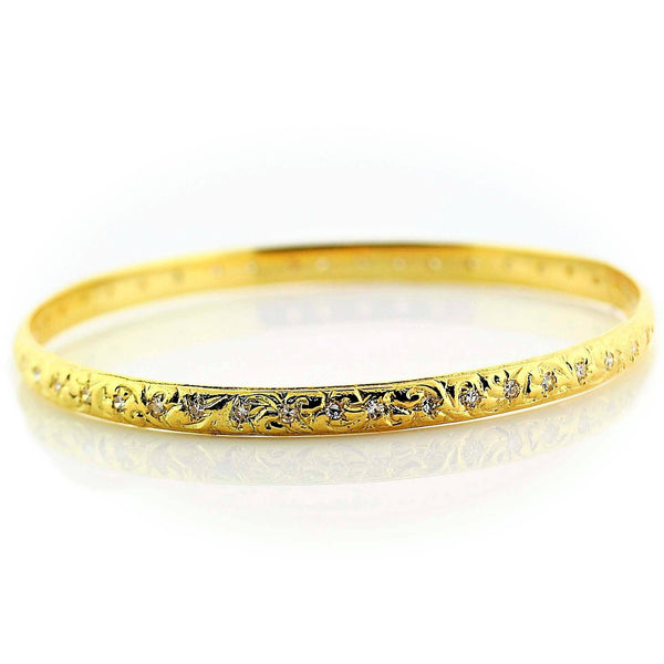 Diamond Bangle Bracelet 18K Yellow Gold 0.95 ct. w.t. - Thenetjeweler by Importex