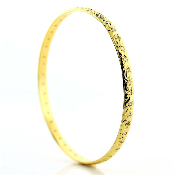 Diamond Bangle Bracelet 18K Yellow Gold 0.95 ct. w.t. - Thenetjeweler