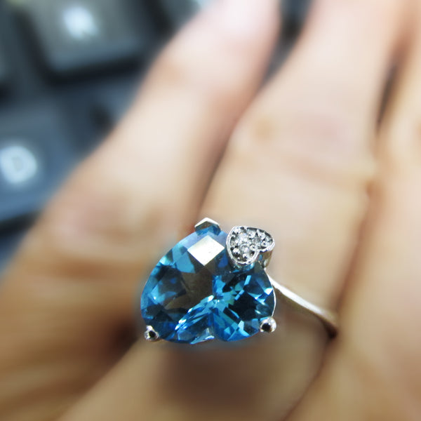 Heart Shaped Blue Topaz Ring | TheNetJeweler
