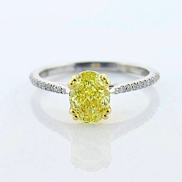 Oval Yellow Diamond Ring with Side Stones 18K White Gold - Thenetjeweler by Importex