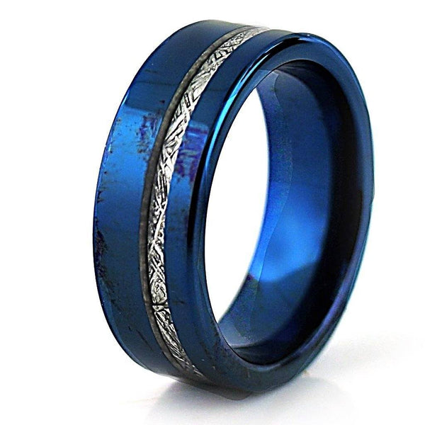 Blue Tungsten Ring with Meteorite Inlay Wedding Band for Man or Woman Unisex - Thenetjeweler by Importex