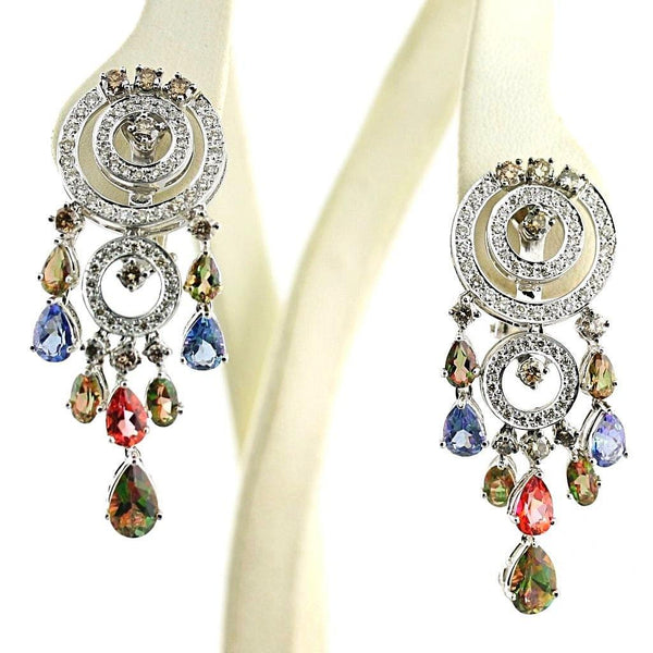 Colored Diamonds Dangle Chandelier Earrings 18K White Gold - Thenetjeweler