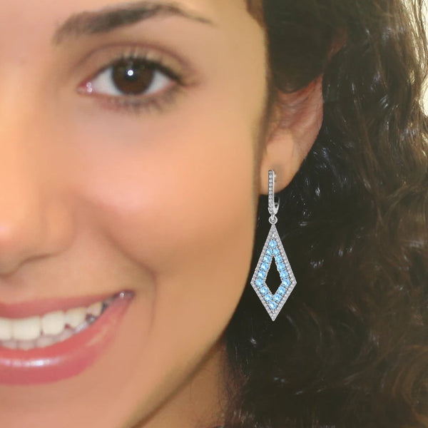 Diamond and Blue Topaz Drop Earrings - Thenetjeweler