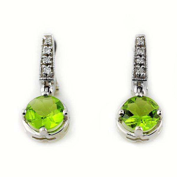 Peridot and Diamond Drop Earrings 14K White Gold - Thenetjeweler