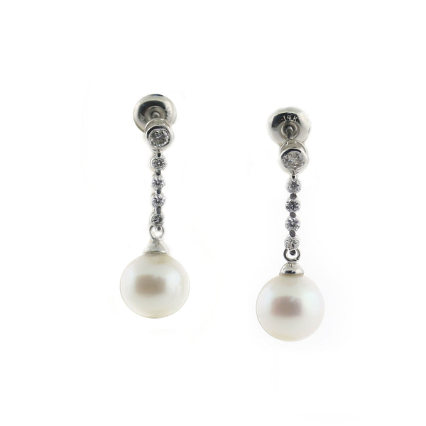 Cultured Pearl Drop Diamond Earrings - Thenetjeweler