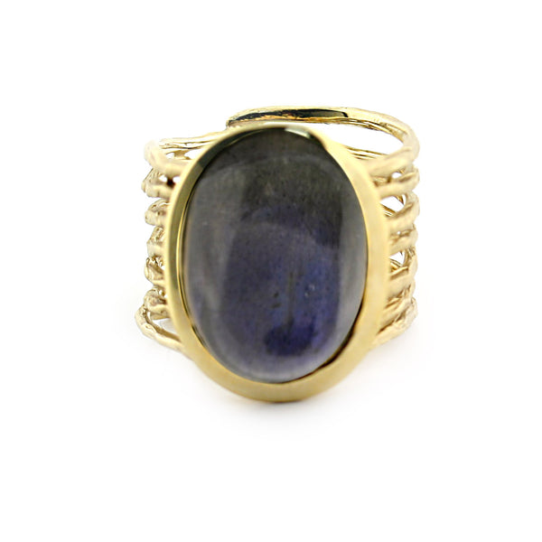 Labradorite Ring 14k Yellow Gold - Thenetjeweler