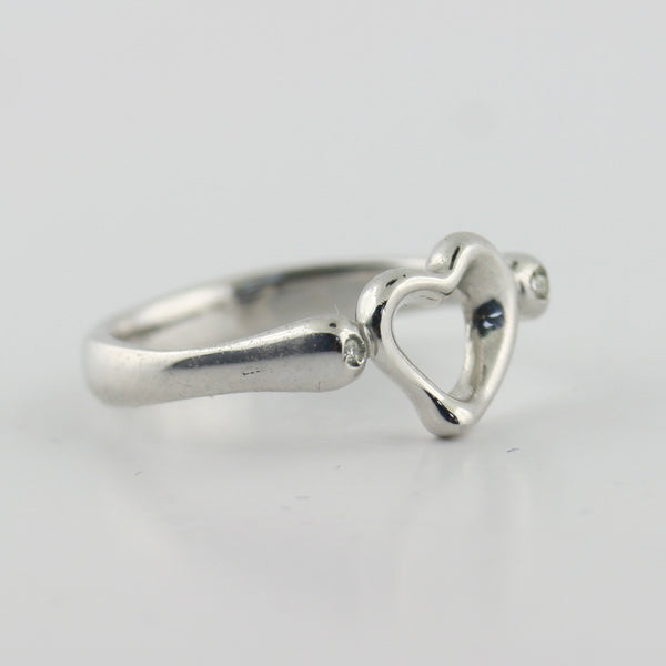 Dainty Heart Ring with Diamonds 10K White Gold