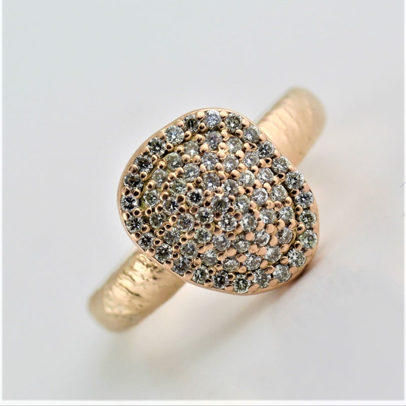 Pave Diamond Rose Gold Textured Finish